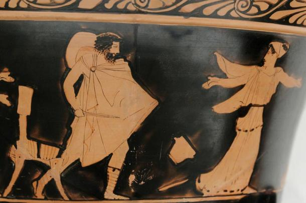 Circe dropping her cup and fleeing Odysseus.