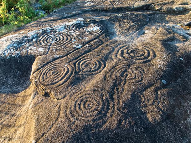 Circles and labyrinths are carved into the rock in Galicia, Spain.
