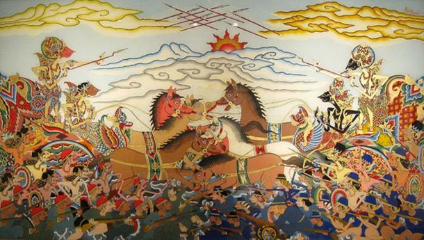 The Cirebon glass painting of Bharatayudha battle in Wayang style. Kurawa on the left and Pandava on the right. On the left Karna rides the chariot with Salya as the driver, while on the right Arjuna rides the chariot with Kresna as the driver.