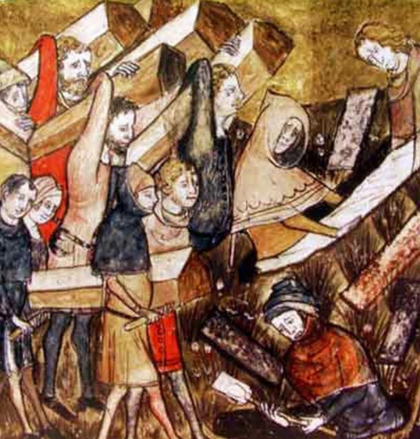 Citizens of Tournai, Belgium bury plague victims.
