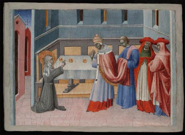Saint Clare of Assisi Blessing the Bread before Pope Innocent IV. (Public Domain)