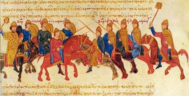 Clash of the armies of the rebel Byzantine general Bardas Skleros and Bardas Phokas in 978/979, from the Madrid Skylitzes manuscript. (Public Domain)
