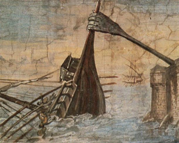 """Detail of a wall painting of the Claw of Archimedes sinking a ship, taking the name """"iron hand"""" in ancient sources."""