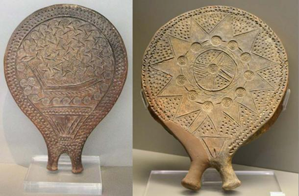Clay frying-pan vessel with incised decoration of a ship. Found at Chalandriani on Syros island. Early Cycladic II period (Keros-Syros culture, 2800-2300 BC). (CC BY 3.0) and Cycladic 'frying pan' with decoration of impressed and incised star and stamped concentric circles, and an incised female pubic triangle above the handle. National Museum, Athens. (Dan Diffendale/ CC BY NC SA 2.0)