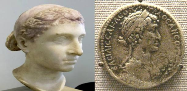 [Left] Bust believed to be of Cleopatra VII, Altes Museum, Berlin. (Public Domain) [Right] A tetradrachm of Cleopatra VII. (Public Domain)