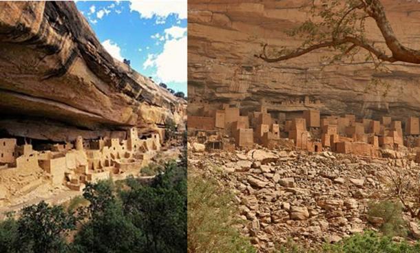 Cliff dwelling in Mesa Verde National Park, Colorado, USA (left). Bandiagara Escarpment, Mali (right)