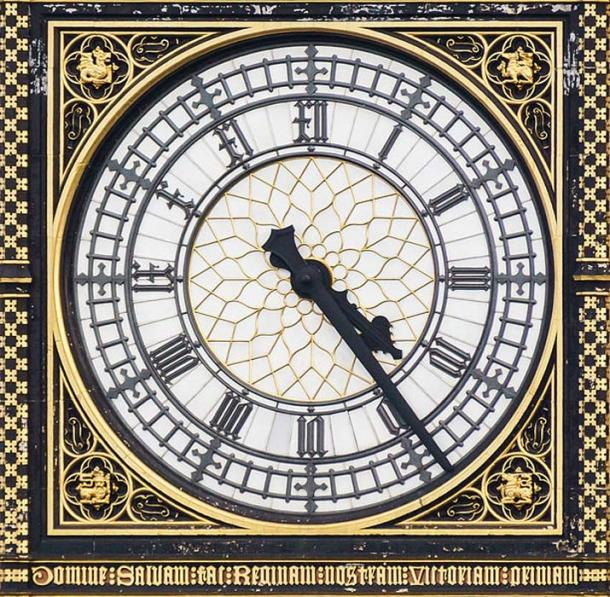 Clock face on Elizabeth Tower.