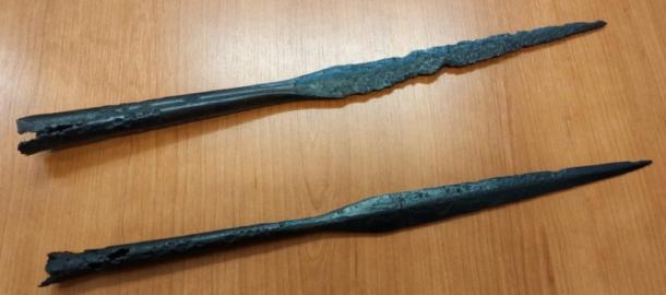Close-up image of Yotvingian spearheads unearthed at the site in Suwałki, Poland. (Jakub Mikołajczuk / Suwalki Muzeum)