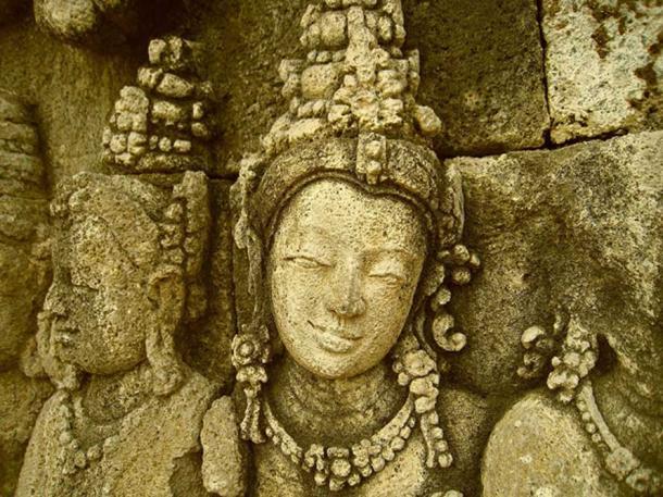 Close up of a relief at Borobudur.