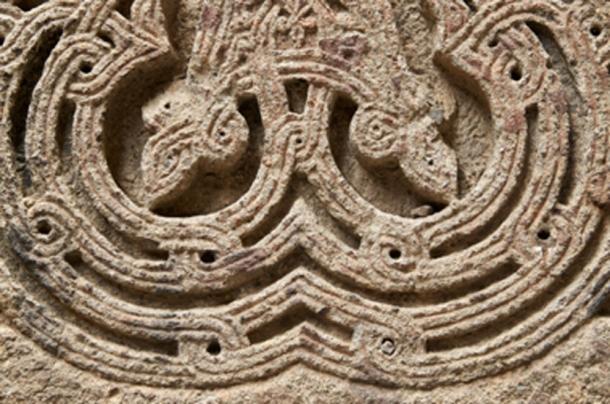 Close up of an ornamental sacred Armenian Cross Stone, known as a khachkar. (Georgy Dzyura / Adobe Stock)