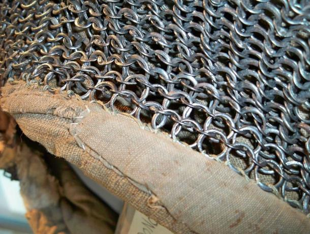 Close up of chain mail used as knight armor