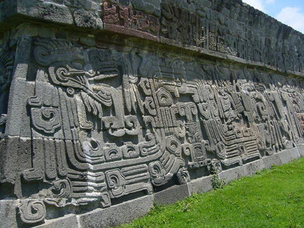 Close up of feathered serpent motif on the temple at Xochicalco