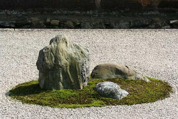 Close up of the zen garden.