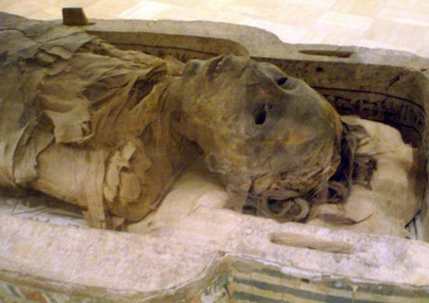Close-up of the Ancient Egyptian mummy Antjau on display at the Royal Ontario Museum.