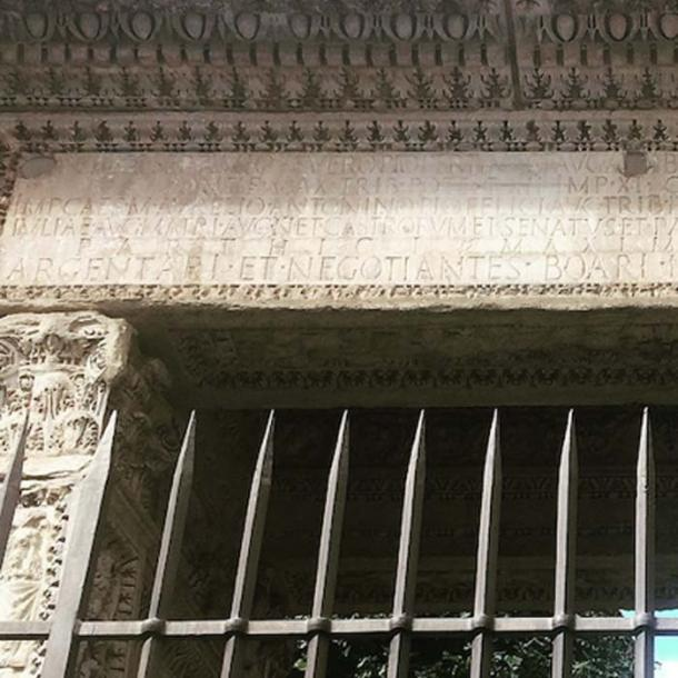 Close up of the arch inscription which has had Geta's name removed. (Image: Alexander Meddings for TimeTravelRome)