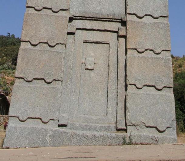 Close up of the obelisk showing false door. (knovakov / Adobe)