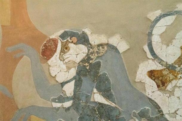 Close up of monkey portrayed in Minoan art in Akrotiri, Greece. (ZDE / CC BY-SA 3.0 )