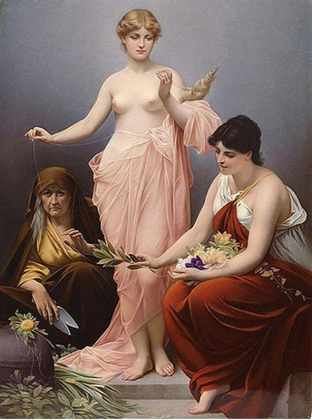 Clotho, Lachesis, and Atropos. 'The Three Fates' by Paul Thumann