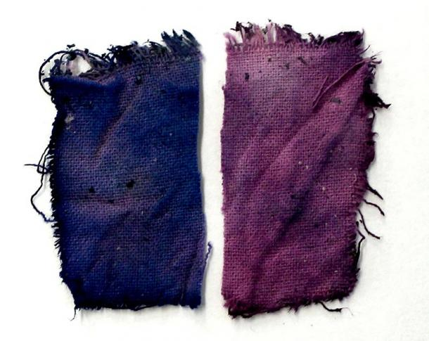Cloths prepared with the recreated medieval blue ink from the juice of the fruits, after experts followed the ancient instructions. (Paula Nabais et al. / Science Advances)