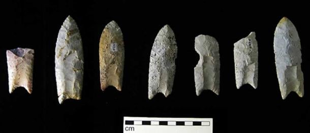 Clovis spear points from the Rummells-Maske Cache Site, Cedar County, Iowa.