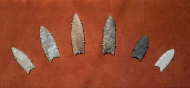 Clovis spearpoints from Clovis, New Mexico on display at the Cleveland Museum of Natural History in Cleveland, Ohio. Dated from 13,500 to 13,000 years ago they were found in (from left to right) Wisconsin, Wisconsin, Wisconsin/Illinois border, Illinois, Ohio, and Georgia. (CC BY-SA 2.0)
