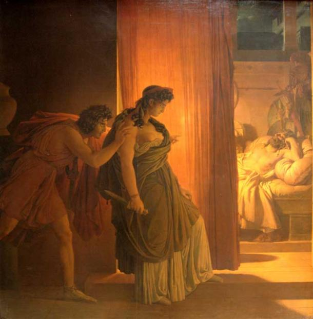 Clytemnestra hesitates before killing the sleeping Agamemnon. On the left, Aegisthus urges her on. By Pierre-Narcisse Guérin. (Public Domain)