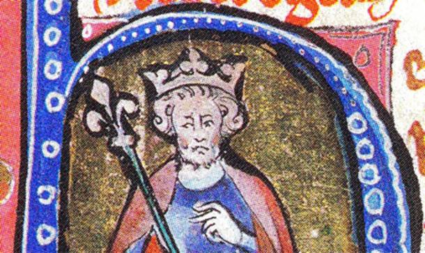 Cnut the Great illustrated in an initial of a medieval manuscript. (Public Domain)
