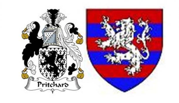 Coat of arms of Pritchard (left) displaying Veneti symbols;  reverse of Walkenline de Ferrers' coat of arms (right), father of Henri de Ferres Breton-Norman-English ancestry who will eventually take the name of Wilson. Both Pritchard and Wilson are related before 500 AD [Both are from the same branch of R1b-L513].