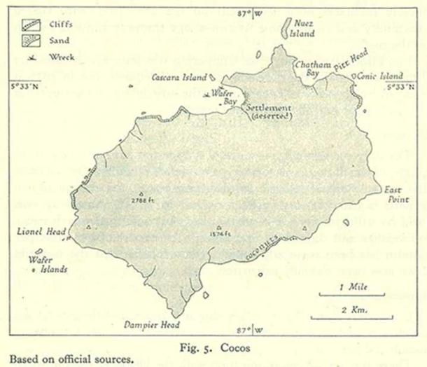 Cocos Island. Map Collection of the Perry-Castañeda Library, University of Texas. Public Domain