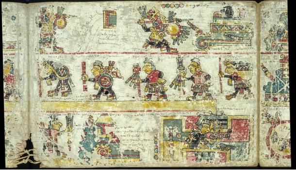 An image from the 12th century Codex Colombino of the Mixtec people shows the 11th-century military and political feats of Lord Eight-Deer, aka Tiger Claw, and another ruler, Four-Wind, and religious ceremonies marking these feats.