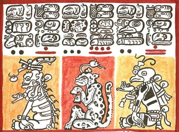 Reproduction of a detail of the Codex Dresdensis (13th century) with several symbols of Mayan numbers
