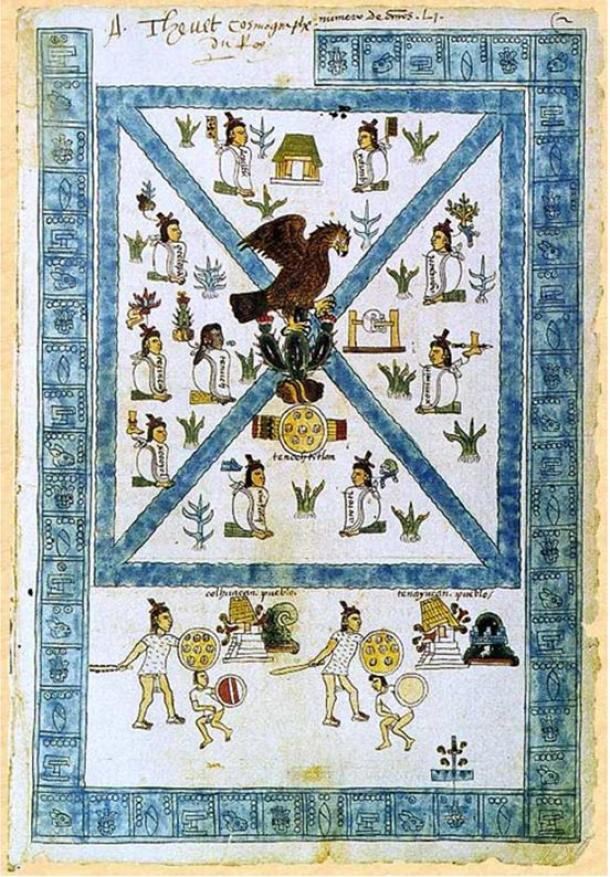 The Codex Mendoza opening page depicts the founding of Tenochtitlan in 1325 AD. The Mexican seal includes the eagle on the cactus.