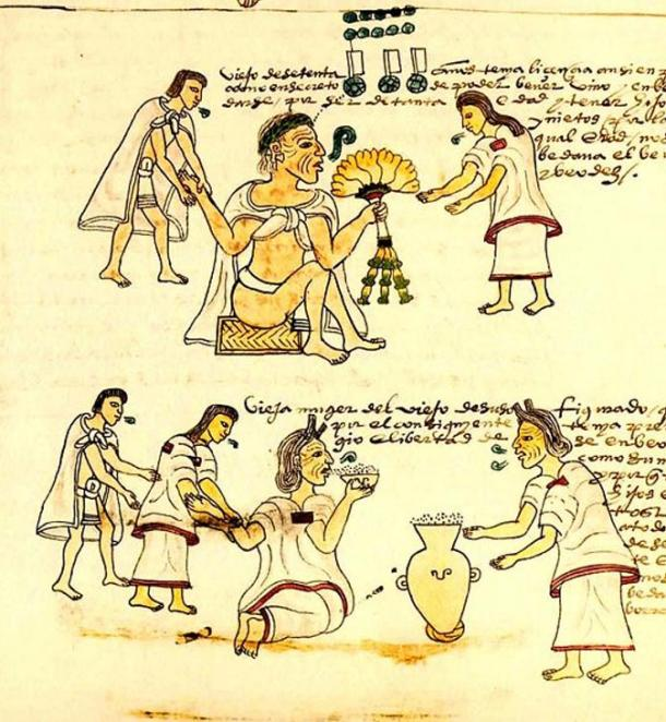 An illustration from the Codex Mendoza showing elderly Aztecs smoking and drinking. The Aztecs wore loincloths with and without outer garments.