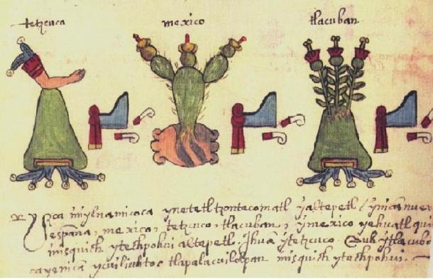 Middle section of page 34 of Codex Osuna, from 1565, showing the pictorial symbols for Texcoco, Tenochtitlan (Mexico), and Tlacopán.