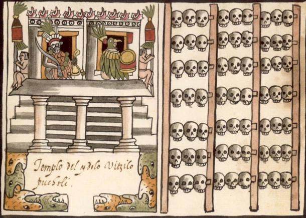 1587 illustration from the Codex Tovar. Left: A temple or pyramid surmounted by the images of two gods flanked by native Mexicans. Right: A tzompantli (Aztec skull rack)