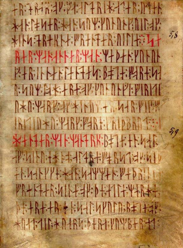 Codex runicus, a vellum manuscript from c. 1300 containing one of the oldest and best-preserved texts of the Scanian law (Skånske lov), written entirely in runes.