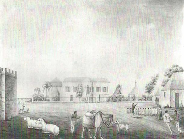 Codrington village depicting part of the castle ca. 1818.