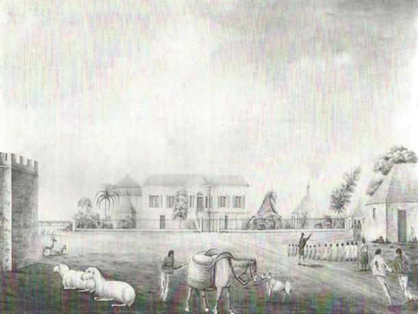 Codrington village depicting part of the castle ca. 1818.