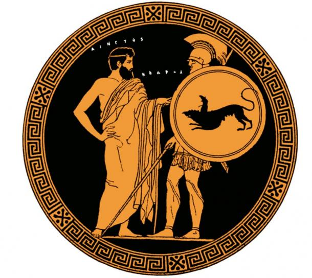 Codrus, the last king of Athens, on an Attic red-figure cup of Bologna.