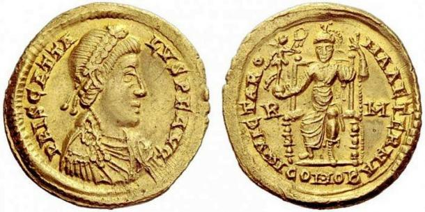 """Coin from 409-410 AD depicting Priscus Attalus, King Alaric's """"puppet emperor."""""""