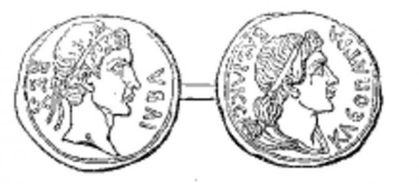 Coin of the ancient kingdom of Mauretania. Juba II of Numidia on the obverse, Cleopatra Selene II on the reverse.