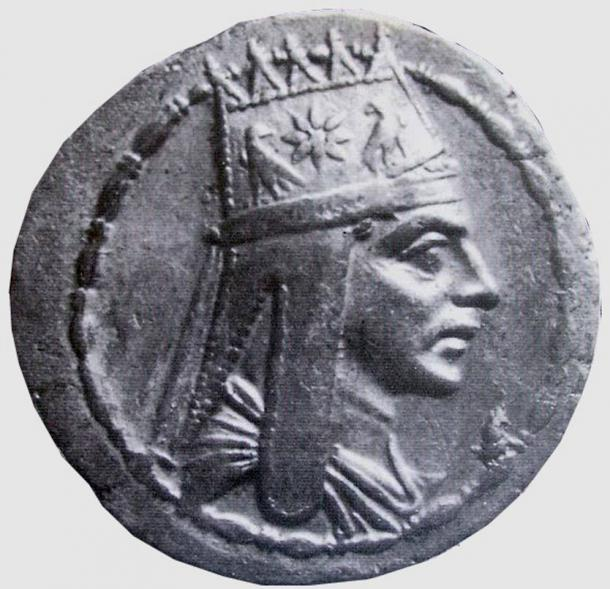 Coin with Tigranes the Great portrait (Armenian king, ruled 95 BCE–55 BCE).