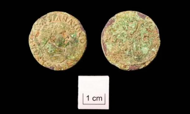 Coins found at the Roman burial site dating back to Roman Emperor Vespasian. (Wessex Archaeology)