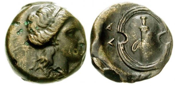 Coins of Salamis, 339-318 BC. Female head right with rolled hair / Boeotian shield (shield of Ajax) and sword in sheath.