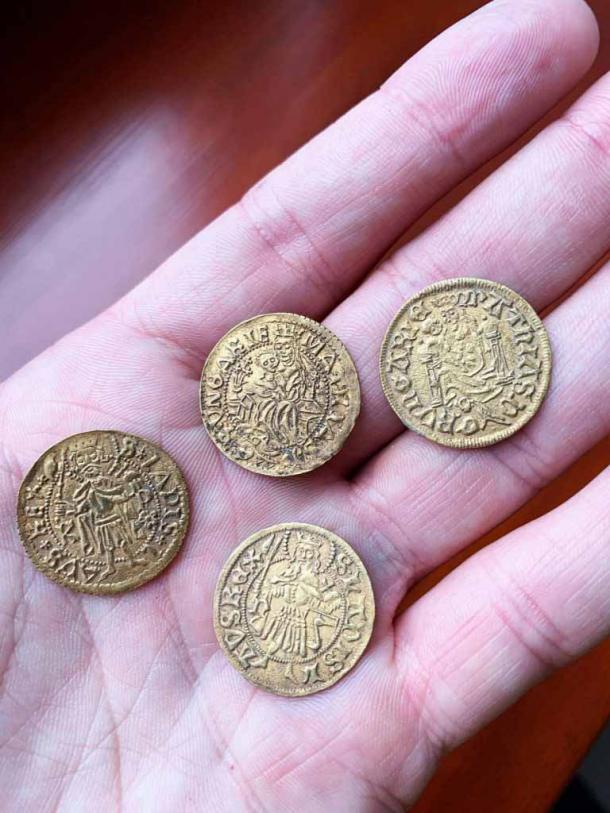 The Hungarian coin discovery included four medieval gold coins. (Ferenczy Museum Center)
