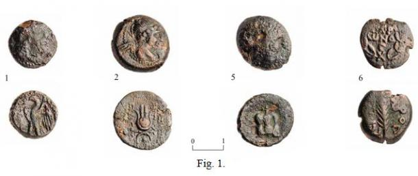 Some of the coins discovered during the excavations at Jaffa in Israel. (Clara Amit/IAA)