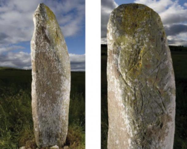The Collessie stone: warrior figure (right) and symbol on adjacent face (left). (© Historic Environment Scotland, images DP 027894 and DP 027896)