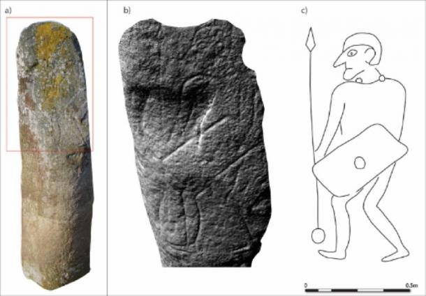 The Collessie stone: a) photogrammetric image; b) slope model; c) interpretation. (University of Aberdeen)