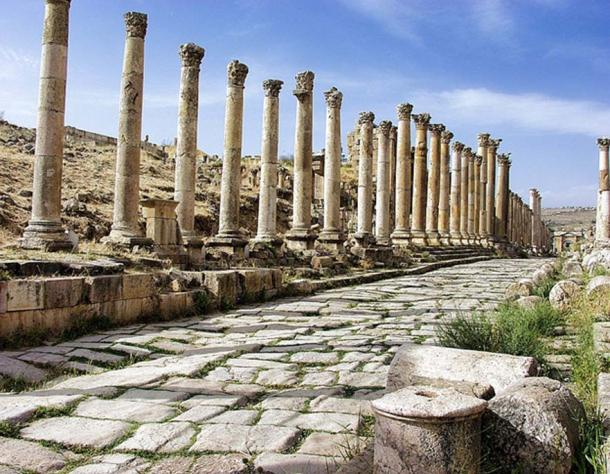 Colonnaded street in Jerash Jordan.