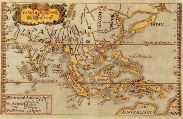 Colored map of South East Asia to Australia by Caspar Schmalkalden (c.1618-c.1668). (Public Domain)